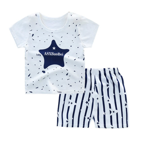 Boys Clothes New Toddler Boys Clothing Children Summer Girls Clothes Cartoon Kids Girl Clothing Set T-shit + Pants 100% Cotton
