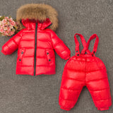 Boys Girl Winter Clothes Children Clothing Set Ski Suit Kids Jumpsuit Warm Coats Duck Down Genuine Fur Hooded Jacket Bib Pants