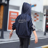 Boys Jacket Autumn 2018 Letter Full Sleeve Stripe Green Kids Jacket Children Boy Sport Top for Age 4 6 8 10 12 to 14 Years M515A