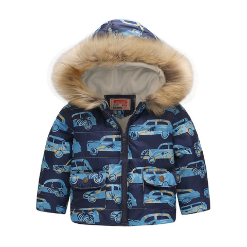 Boys Jacket Winter Thicken Warm Parkas Intant Toddler Baby Padded Outerwe Casual Hooded Jacket Fur Children Co Kids Clothing