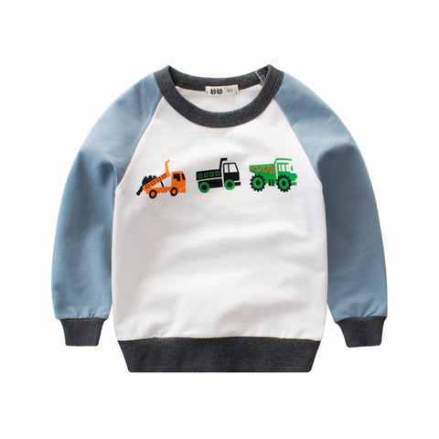 Boys Long Sleeve Sweatshirt Spring Kids Cartoon C truck printing T Shirt Cotton patchwork Tops toddler Children Clothing
