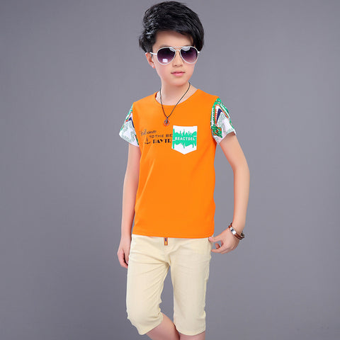 Boys' Suit Children's We Clothes Sets 2018 Summer New Boy Fashion Print Sets Yellow and Orange Color 4-12 Ages
