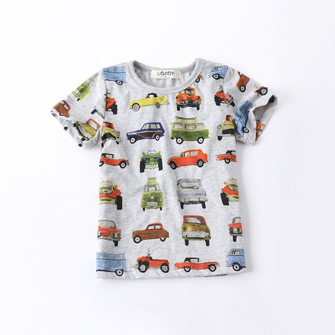 Boys T-shirt Cars Printed 2017 Summer Short Sleeve Tees Children Clothing Bottoming Kids Shirt For Age 2-10, Grey/Yellow/White