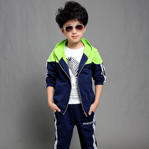 Boys Tracksuit Clothes set Kids Hooded Spring&Autumn Cotton Scho Uniform Sport Suit Boy Clothing Sets 4 6 8 10 12 14 year