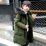 Boys Winter Co 2018 Fur Hooded Down Jackets for Kids Boy 6 8 10 12 14 years Thicken Warmly Winter Children Clothes