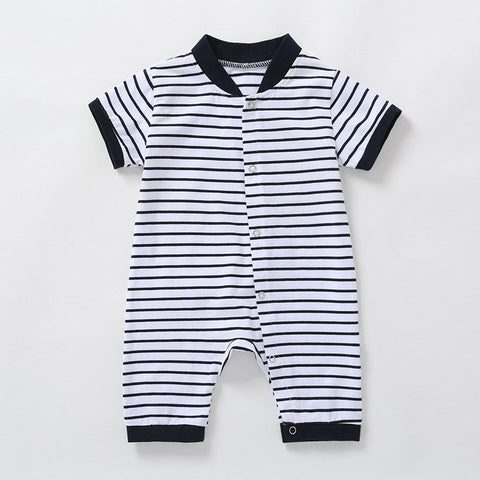 Brand Baby Girl Romper Summer 2018 New Born Baby Clothes Stripe V Neck Cotton Rompers for Baby Boys 6 9 12 18 24 Month 43C1
