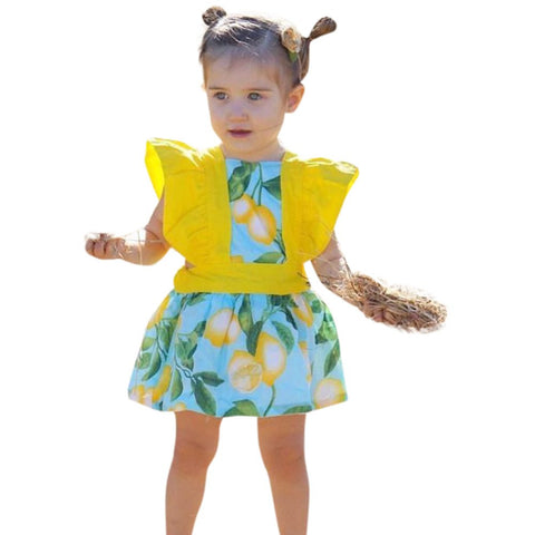 Blue Fashion Toddler Baby Kids Girls Lemon Print Flying Sleeve Princess Dress Clothes Outfits jul24 P30x
