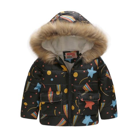 Cute Dinosaur Kids Boys Winter Jacket Cotton Fleece Fur Hooded Parka Baby Boys Co Outerwe For Children 90-130cm