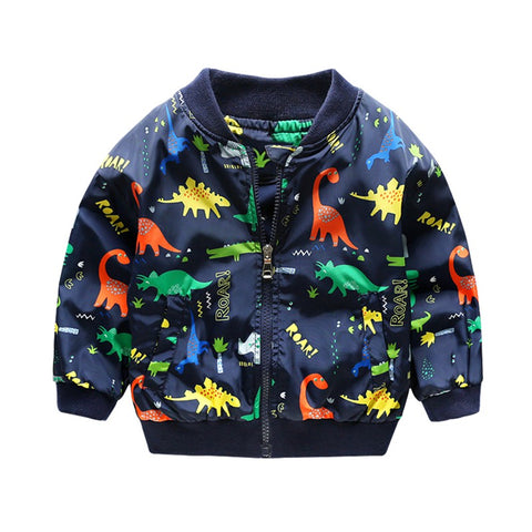 80-130cm O-Neck Kids Boys Jacket Navy Green 2018 Spring Dinosaur Printing Children Clothes Girls Co Outerwear