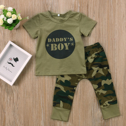 Camo Clothing 2017 Newborn Baby Boy Clothes Girls Set Camouflage Pants Army Green T-shirt Tops Pants Outfits Set Clothes 0-24M
