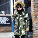 Camouflage 2017 Children's Down Jacket Long Thick Boy Winter Co Duck Down Kids Winter Jackets for Boy Outerwe Fur Collar