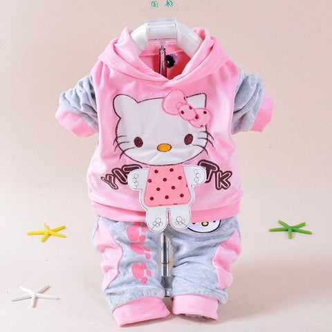 Cartoon Baby Girl Clothing Set Winter Baby Boy Outfit Autumn Baby Clothes Cute Infant Top+Pants Soft Newborn Outwear Cheap Coat