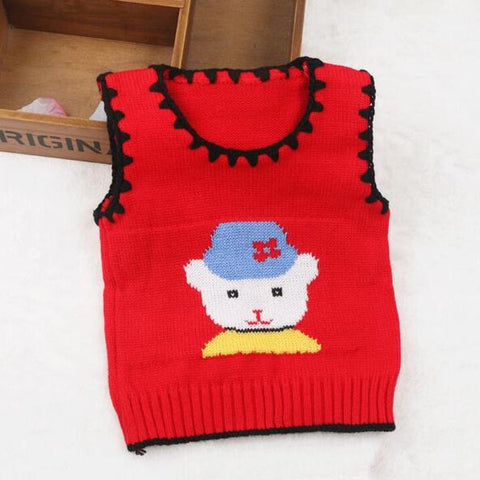 Cartoon Baby Sweater Jackets Wool Vest Kids Newborn Boys and Girls Sweater Vest Coat Lovely Baby Vest