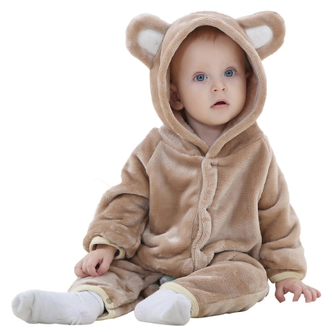 Cartoon Bear Design Hooded Baby Rompers Keep Warm Newborn Clothing Cotton Long Sleeve Jumpsuits Boys Girls Rompers Outerwear