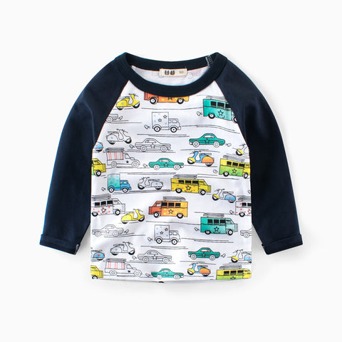 Cartoon C Print Boys T-Shirts Clothes Long Sleeve Spring Autumn T-Shirt Tee Cotton Casual Tops Pullover O-Neck Children Shirts