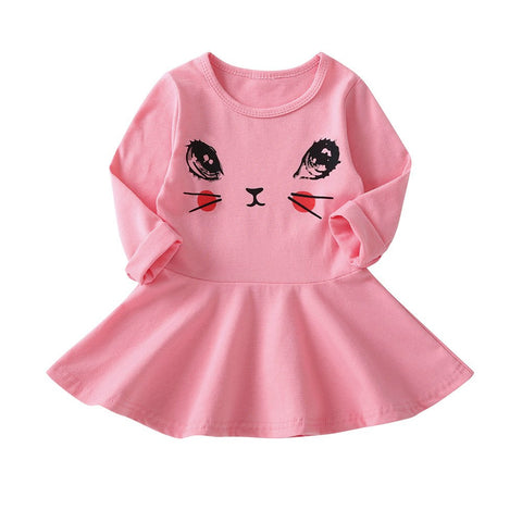 Cartoon C Face Girl Dress Cute Casual Princess Dress Long Sleeve Toddler Girl Party Dresses Baby Girl Clothes 1 2 3 4 5 Years