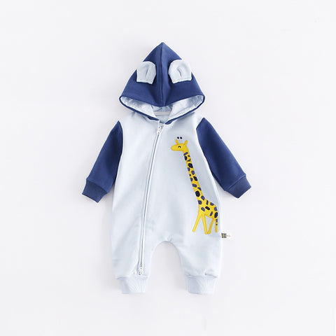 Cartoon Giraffe Design Hooded Baby Rompers Newborn Clothing Cotton Long Sleeve Jumpsuits Boys Girls Outerwear Costume Baby Gift