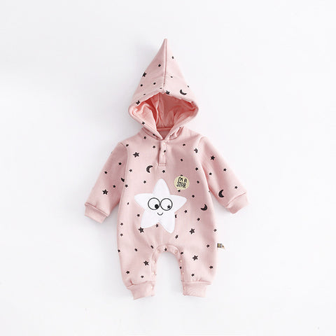 Cartoon Stars Printed Design Hooded Baby Rompers Newborn Clothing Cotton Long Sleeve Jumpsuits Boys Girls Outerwear Costume Gift