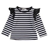 Casual Newborn Infant Toddler Baby Kids Girl Clothing LongSleeve Ruffle Laces T-Shirts Blouse Autumn Spring Clothes Tops 0-24M