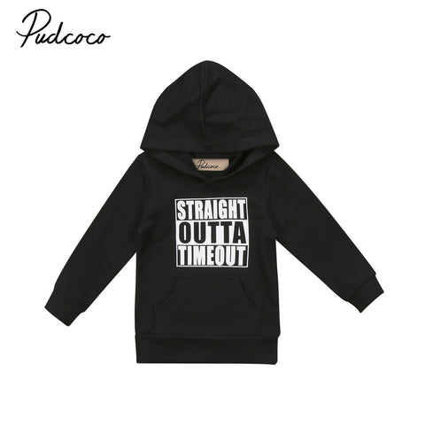 Casual Toddler Newborn Baby Boy Girl Hoodie STRAIGHT OUTTA TIMEOUT Letter Pullover Tops Hooded Sweatshirt Outdoor 0-5Y