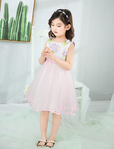 746fd23532d6 Children Clothing Girl Floral Embroidery Ribbon Layered Princess Dress for Toddler  Girl Dresses for Party Purple 2-6Y