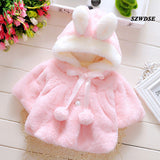 Child's Baby Autumn Winter warm tops soft Plush rabbit-ears hoodies newborn cute cosplay Christmas clothing 3M-24M Free shipping