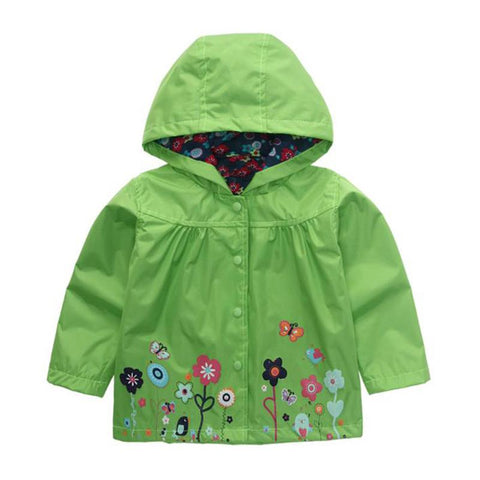 Children Clothing Hooded Jackets Boy Girls Outwe Winter Co Long Sleeve Windbreaker Kids Clothes Green Pink