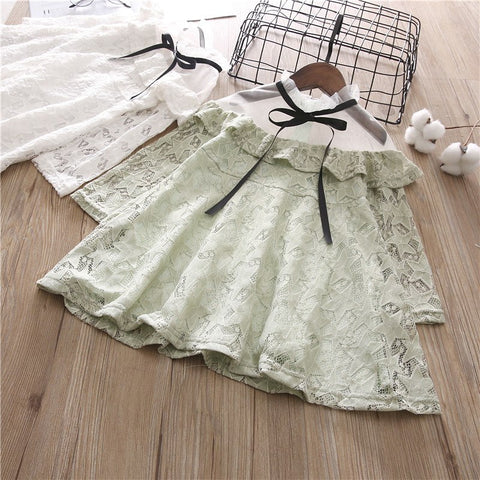 Children Small Fresh Dress Girl Summer Fashion Clothes Baby Girl Mesh Strapless Lace Princess Dress Long Sleeve Party Dresses