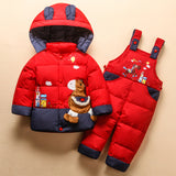 Children Snowsuit Baby Boys Girls 2-4Y Winter Warm Duck Down Jacket Suit Set Thick Coat+Jumpsuit Clothes Set Kids Snow Wear