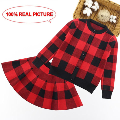Children Sweater Clothing Set Autumn Winter Girls Clothes Kids Knitted Plaid Co + Skirt Suits For Girls 9 6 7 10 11 12 Years