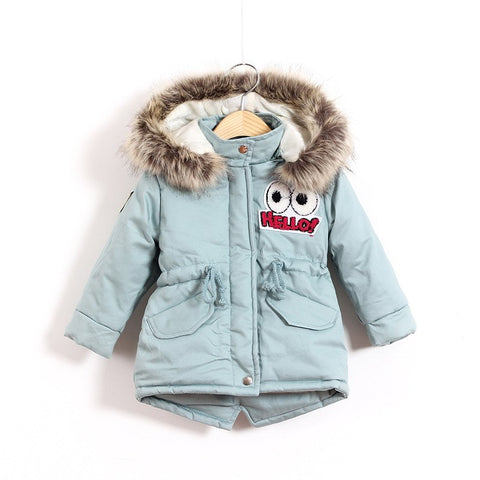 Children Thicken Warm Winter Co Kids Cotton-padded Jacket Wadded Outwe Thickening Boys Girls Fur Hooded Parkas Clothes Y105