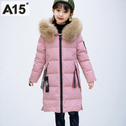Children Winter Co Teenage Girls Clothing Kids 2018 Girls Winter Jackets with Fur Coll Warm Thick Hooded Long Down Parkas 10