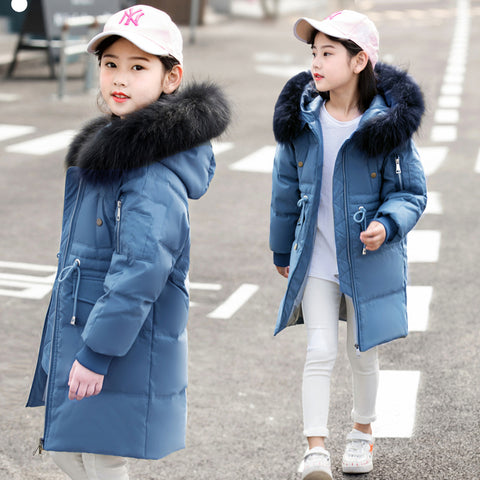 Children Winter Duck Down Girls Thickening Warm Down Jackets Boys long Big Fur Hooded Outerwe Coats Kids 6-14 ye Down Jacket