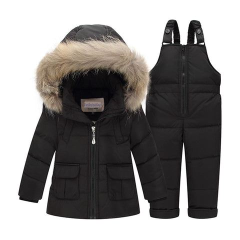Children Winter Suits Boys Girls Duck Down Jacket + Bib Pants 2 Pcs Clothing Set Thermal Kids Warm Thicker Co Snow We Parka