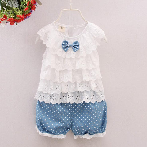 Children clothing Girls summer baby girl clothes casual kids sport suits sleeveless t-shirt+shorts girl clothing sets 1ye wear