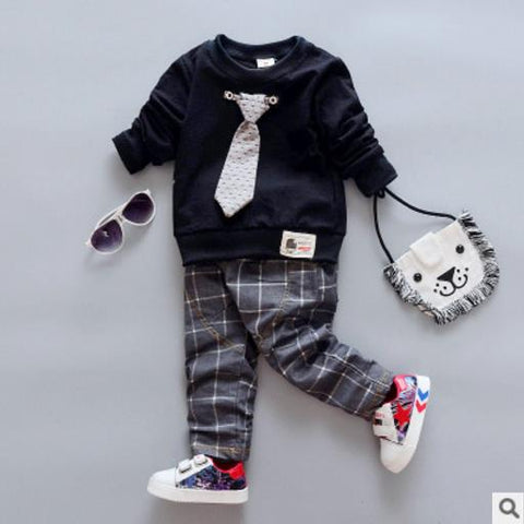 Children clothing set fall autumn boutique kids outfits boy Bow Tie gentleman Suit baby girls boy clothes two piece 1 3 4 year