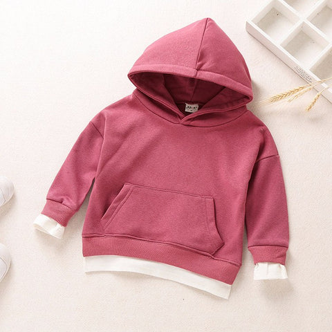 Children's Girl Clothing Hoodies & Sweatshirts For Spring Autumn 2018 New Hooded Long Sleeve Faux Two Piece Pullover Top