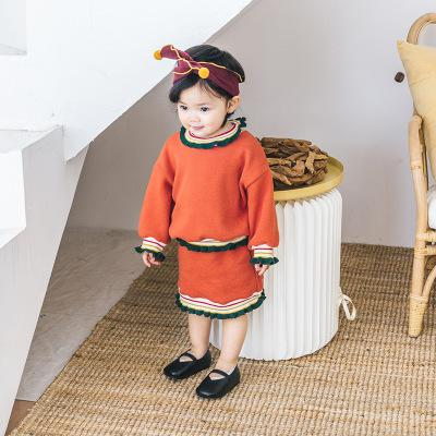 Children's Sets Autumn Janpan Version Cute Contrast Color Stand Collar Pullover Tops+skirt 2pcs Baby Girl Suit Childrens Clothes