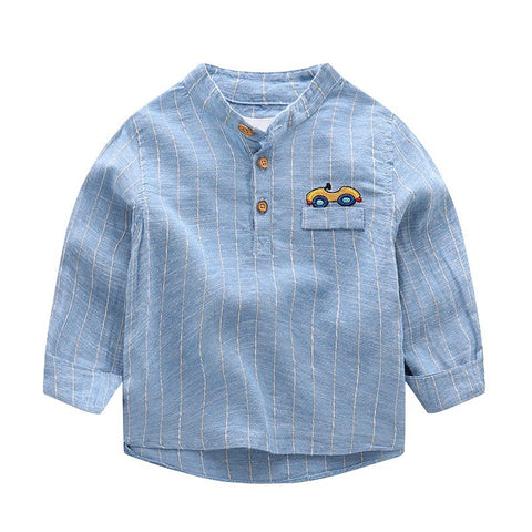 Children's Striped Clothing Spring Autumn Cotton Long-Sleeved Embroidery C Pattern Shirt Light For Boys Child