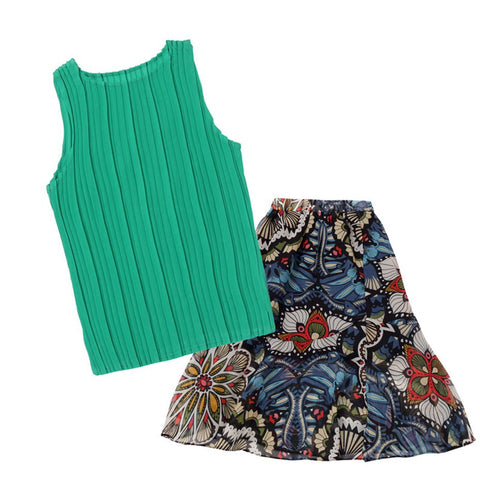 Children's Summer Clothing For Girls Vest+Print Long Skirt 2 Pcs Kids Clothing Teenage Clothes For Teen Girls 4 6 8 10 12 Years