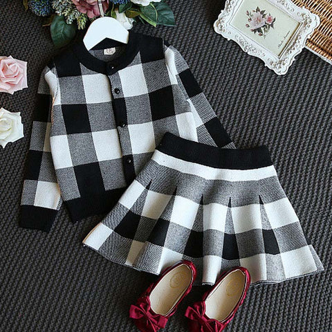 Children's clothing sets Summer fashion girls clothing Sets black white plaid coat+tutu skirts sets toddler girls clothes