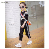 Children's we Baby girl clothes Autumn and winter children's long-sleeved T-shirt+ pants KT c cartoon embroidery sports suit