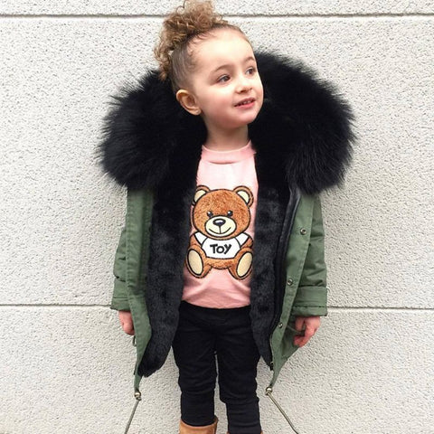 Children winter baby faux fur jacket hooded warm girl imitation fox fur co boy thick cotton long baby Parkas Outerwe & Coats