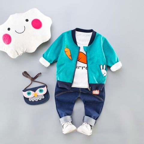 Childrens Clothes Coat Girls Boy Sets 2018 Rabbit Set Up Sports Kids Long Sleeve Jackets+White Cartoon Top+Pants New Fashion A23