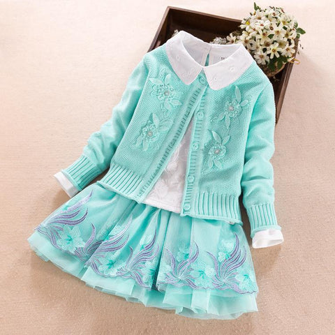 Childrens Clothing Set 2018 Autumn Winter 3pcs Kids Girls Cotton Clothes Lace Sweater Coat + White Blouses Shirts + Tutu Skirts