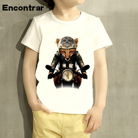 Childrens Fox Biker Design Baby Boys/Girl T Shirt Kids Funny Short Sleeve Tops Children Cute T-Shirt,HKP2065