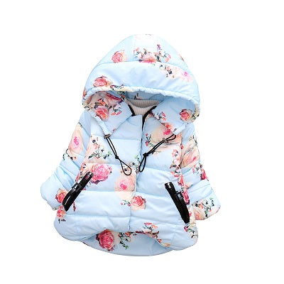 Christmas Baby Girls Winter Thick Flower Hoodies Jacket Coats Infant Kids Outerwe Overall Children Parka Outfits Clothing