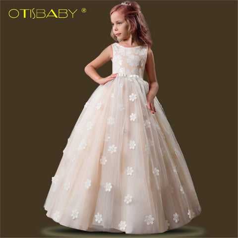 Christmas Flower Girl Ceremony Dresses Children Champagne Princess Dress for Party Wedding Girls First Communion Floral Dresses