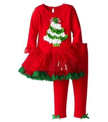 Christmas Kids Clothing Sets 100% Cotton Clothing Boutique Christmas Baby Girls Clothes Long Sleeve Dress + Leggings Pants Sets