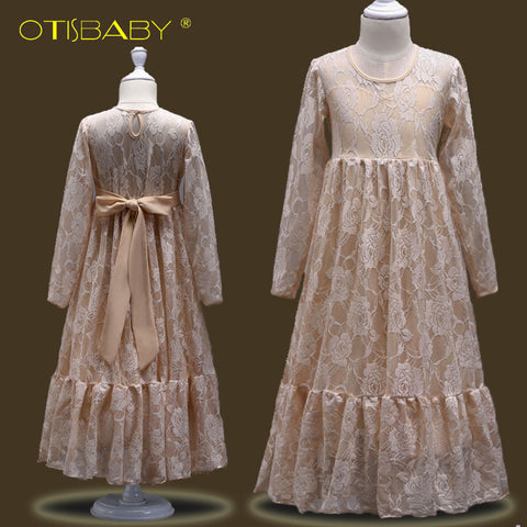 Christmas Long Sleeve A-line Dresses for Girls 10 12 13 14 15 Years Old Teenage Girls Lace Pageant Dress for Party and Wedding